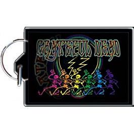 Grateful Dead - Dancing Skeletons Lightning Bolt Black Keychain